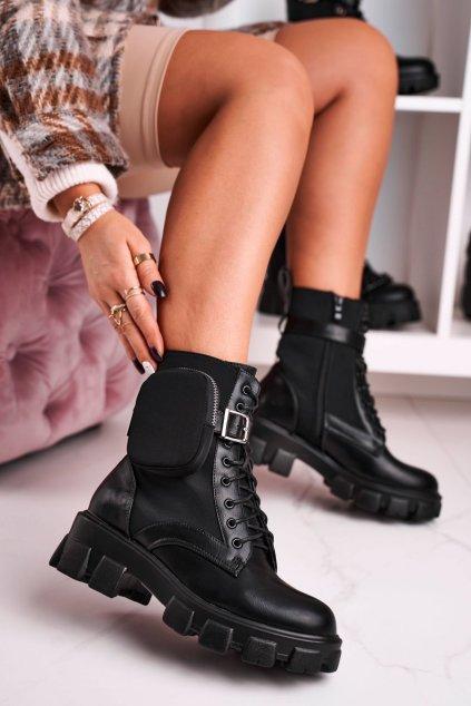 Členkové topánky na podpätku farba čierna kód obuvi 128-1 BLK