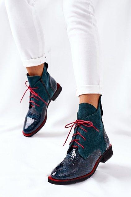 Členkové topánky na podpätku farba zelená kód obuvi 4083 ZIEL+ZAMSZ
