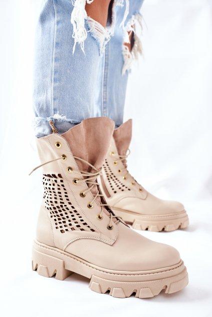 Členkové topánky na podpätku farba hnedá kód obuvi 2436 BEIGE