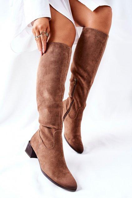Dámske čižmy farba hnedá kód obuvi 22-10641 BEIGE