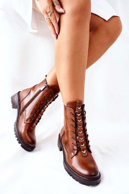 Členkové topánky na podpätku farba hnedá kód obuvi 22-10662 CAMEL PU