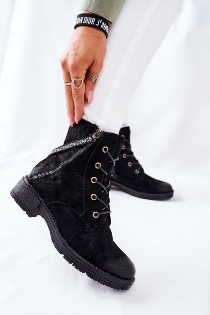 Členkové topánky na podpätku farba čierna kód obuvi 22-10642 BLK