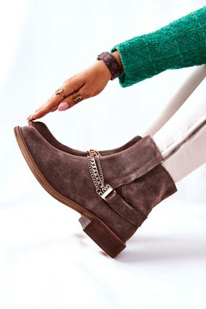 Členkové topánky na podpätku farba hnedá kód obuvi 2678/032 BROWN