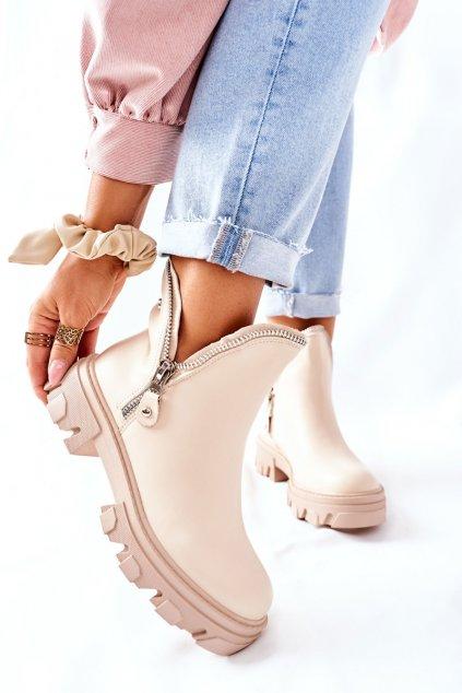 Členkové topánky na podpätku farba hnedá kód obuvi 8399 BEIGE