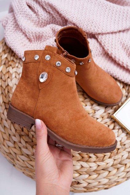 Detské členkové topánky farba hnedá kód obuvi KID079 CAMEL