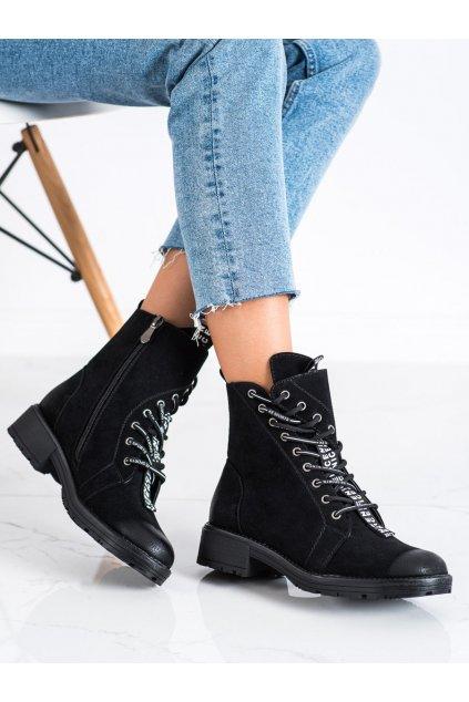 Čierne dámske topánky Vinceza kod XY22-10644B/B