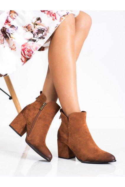 Hnedé dámske topánky Vinceza kod XY22-10620C