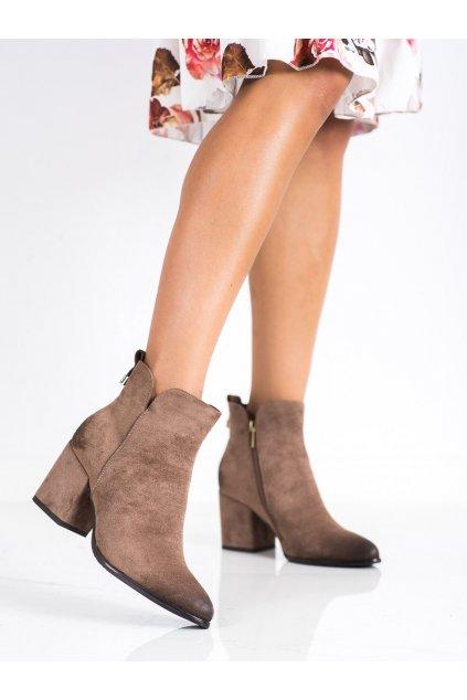 Hnedé dámske topánky Vinceza kod XY22-10620BE