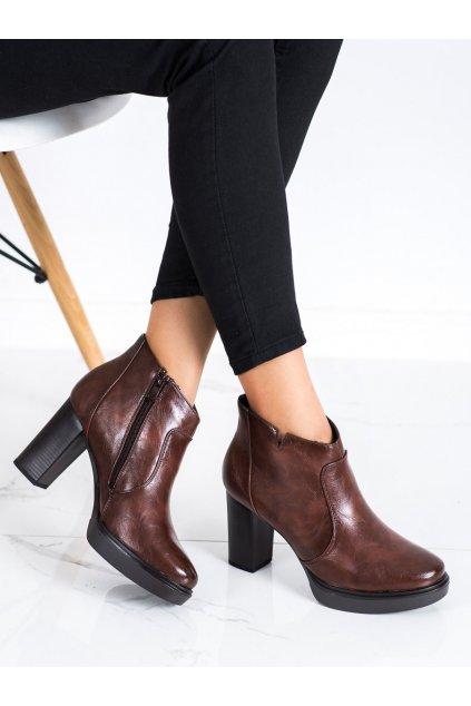 Hnedé dámske topánky Sabatina kod DM19-109BR