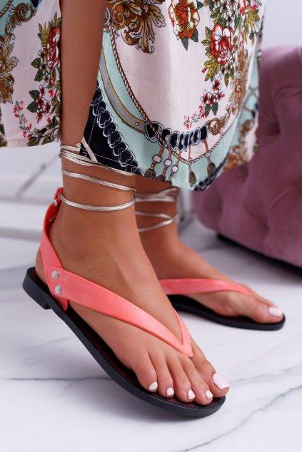 Neonovo ružové sandále NJSK LS02 BLK