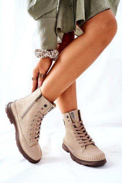 Členkové topánky na podpätku farba hnedá kód obuvi II274349 BEIGE