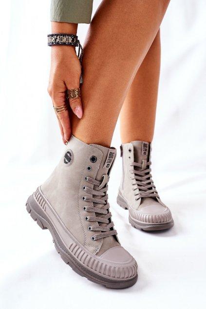 Členkové topánky na podpätku farba sivá kód obuvi II274350 GREY