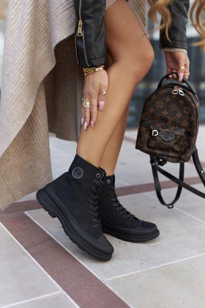 Členkové topánky na podpätku farba čierna kód obuvi II274351 BLK