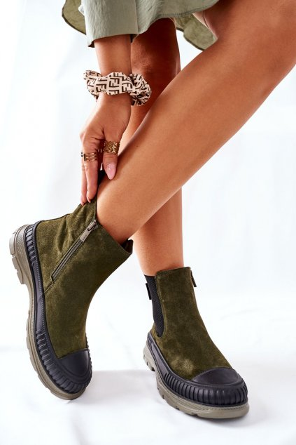 Členkové topánky na podpätku farba zelená kód obuvi II274355 KHAKI
