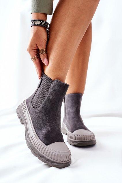 Členkové topánky na podpätku farba sivá kód obuvi II274353 GREY