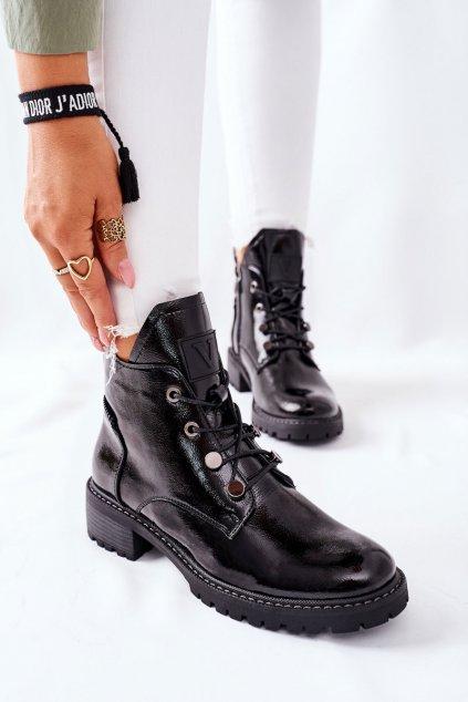 Členkové topánky na podpätku farba čierna kód obuvi 22-10661 BLK