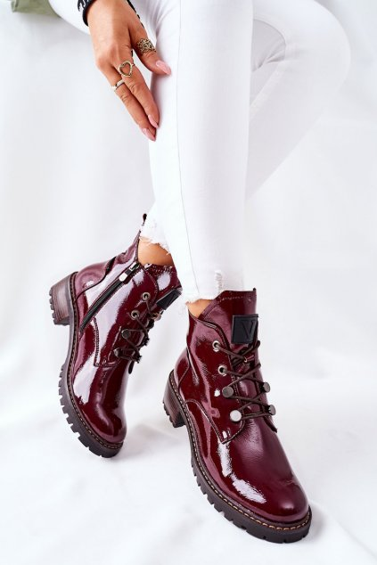 Členkové topánky na podpätku farba červená kód obuvi 22-10661 BORDO