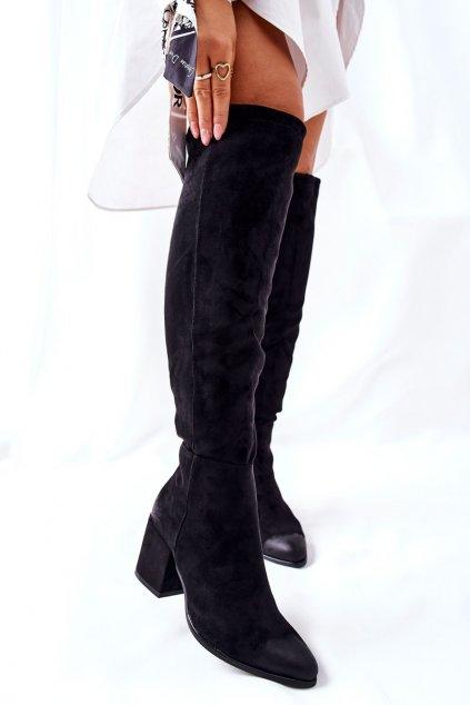 Dámske čižmy farba čierna kód obuvi 22-10623 BLK