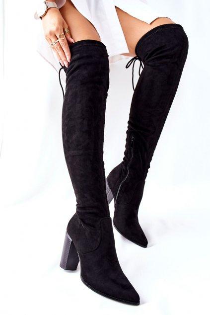 Dámske čižmy farba čierna kód obuvi 22-16283 BLK