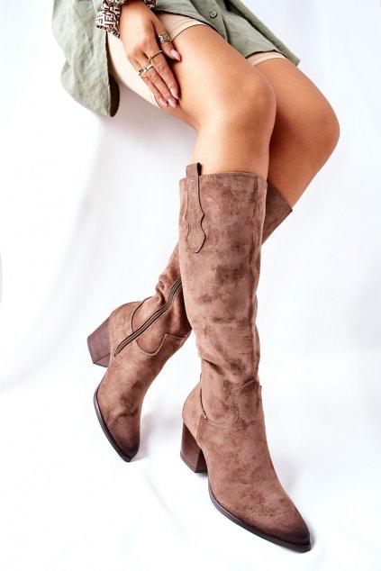 Dámske čižmy farba hnedá kód obuvi 22-10634 BEIGE