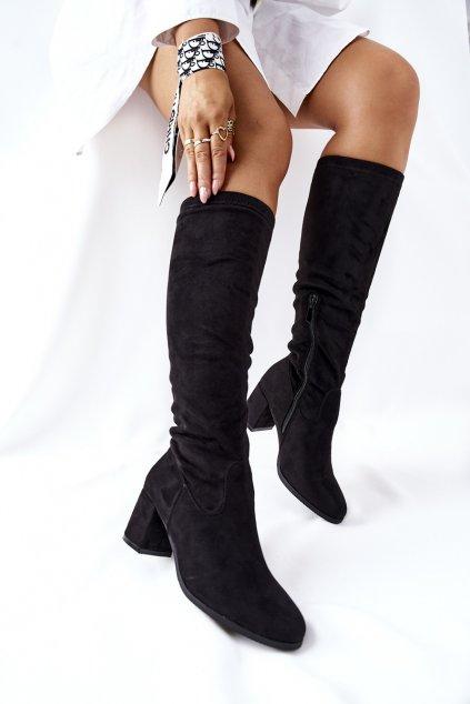Dámske čižmy farba čierna kód obuvi 22-16243 BLK