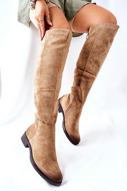 Dámske čižmy farba hnedá kód obuvi 22-10667 BEIGE