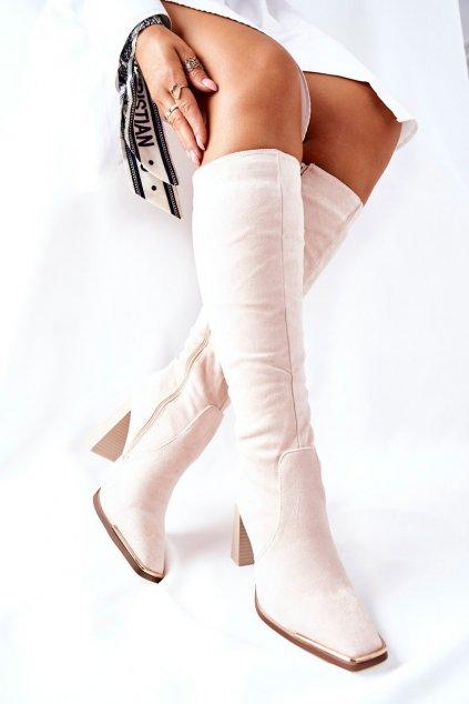 Dámske čižmy farba hnedá kód obuvi NS208 BEIGE