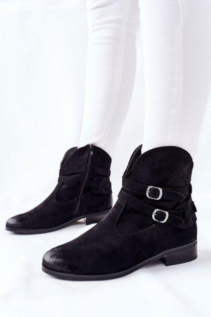 Členkové topánky na podpätku farba čierna kód obuvi 22-10616 BLK
