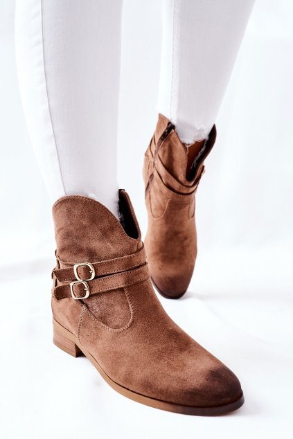 Členkové topánky na podpätku farba hnedá kód obuvi 22-10616 DK.BEIGE