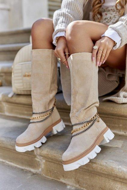 Členkové topánky na podpätku farba hnedá kód obuvi NC1229 BEIGE
