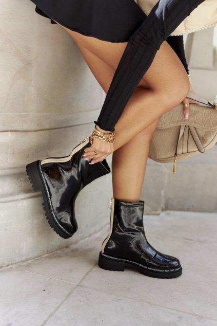 Členkové topánky na podpätku farba čierna kód obuvi 60-Y6 BLK