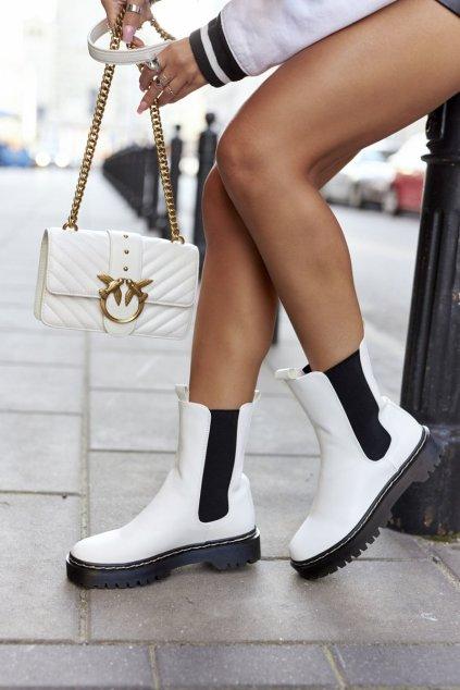 Členkové topánky na podpätku farba biela kód obuvi 201-70A WHITE