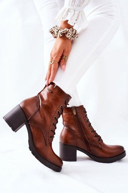 Členkové topánky na podpätku farba hnedá kód obuvi 21-10643 CAMEL PU