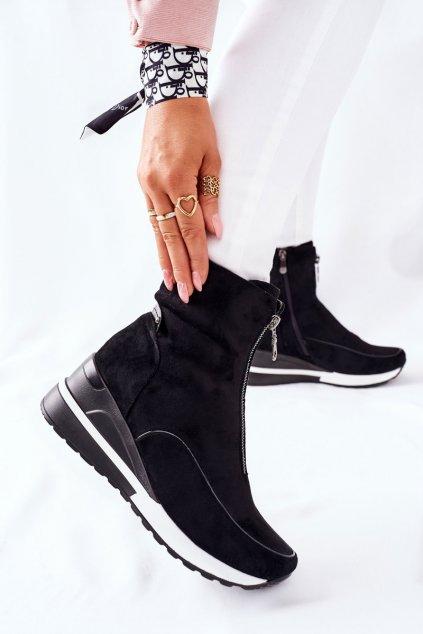 Členkové topánky na podpätku farba čierna kód obuvi 22-10654 BLK