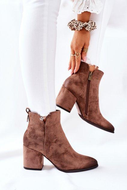 Členkové topánky na podpätku farba hnedá kód obuvi 22-10620 BEIGE