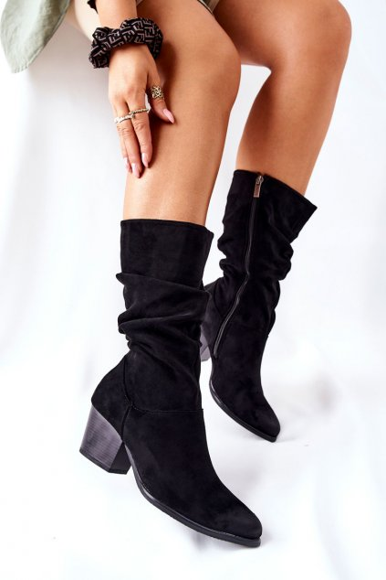 Členkové topánky na podpätku farba čierna kód obuvi 22-10635 BLK