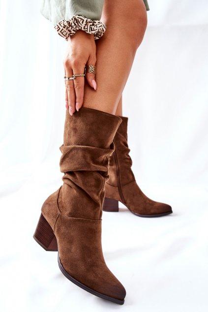 Členkové topánky na podpätku farba hnedá kód obuvi 22-10635 KHAKI