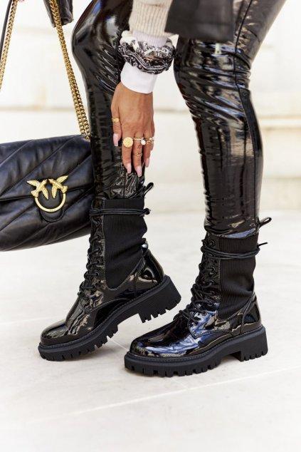 Členkové topánky na podpätku farba čierna kód obuvi A7203 BLK LAC