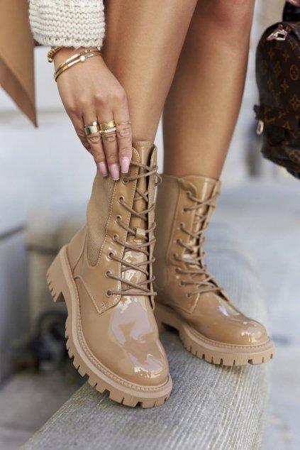 Členkové topánky na podpätku farba hnedá kód obuvi A7203-63 KHAKI