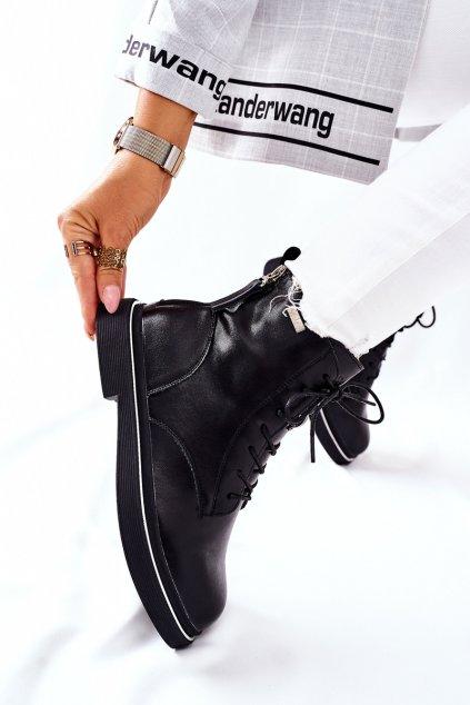Členkové topánky na podpätku farba čierna kód obuvi II2N4014 BLK