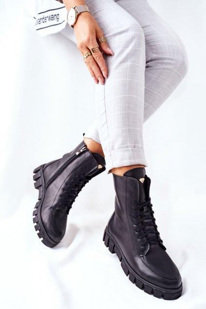 Členkové topánky na podpätku farba čierna kód obuvi 2673/001 BLK LICO