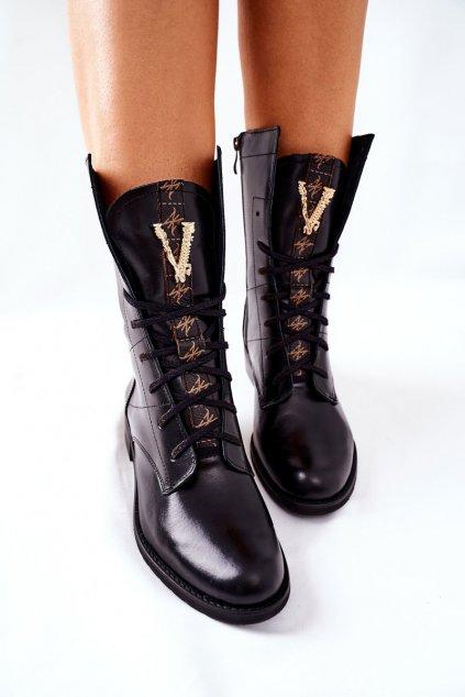 Členkové topánky na podpätku farba čierna kód obuvi 2581/001 BLK