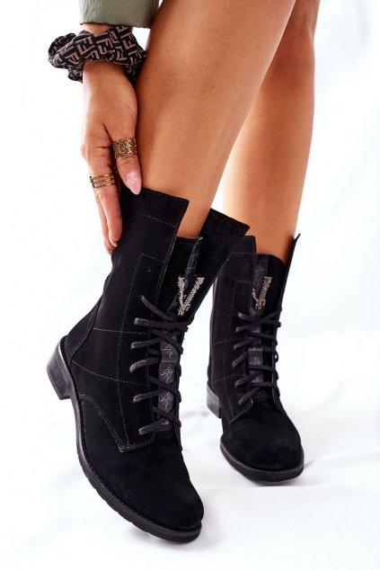 Členkové topánky na podpätku farba čierna kód obuvi 2581/028 BLK/W