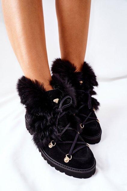 Členkové topánky na podpätku farba čierna kód obuvi 2680/028 BLK