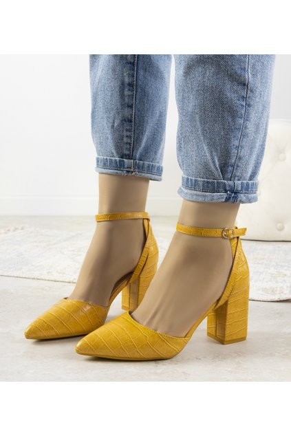 Dámske topánky lodičky žlté kód LE079P - GM