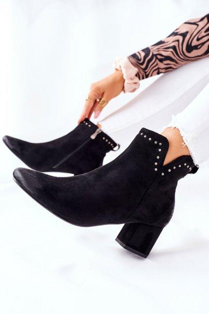 Členkové topánky na podpätku farba čierna kód obuvi 22-10626 BLK