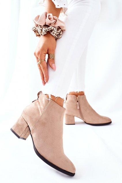 Členkové topánky na podpätku farba hnedá kód obuvi 22-16240 BEIGE