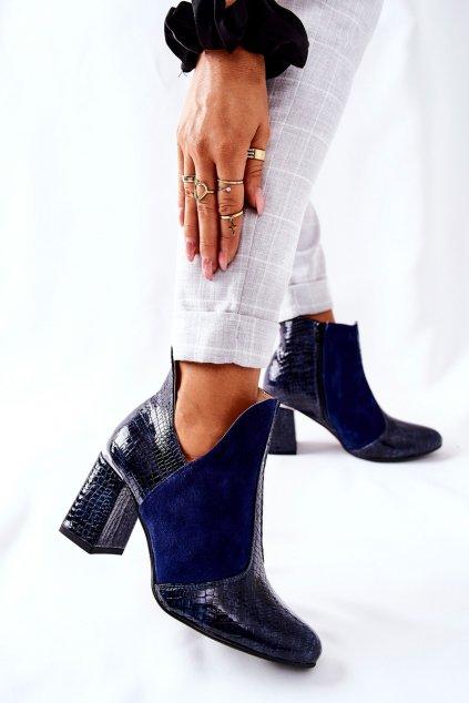 Členkové topánky na podpätku farba modrá kód obuvi 4103-O NAVY KROK SUEDE