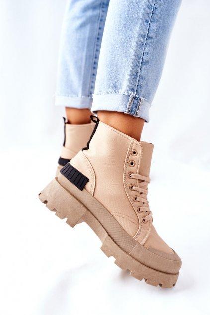Členkové topánky na podpätku farba hnedá kód obuvi BL267P KHAKI