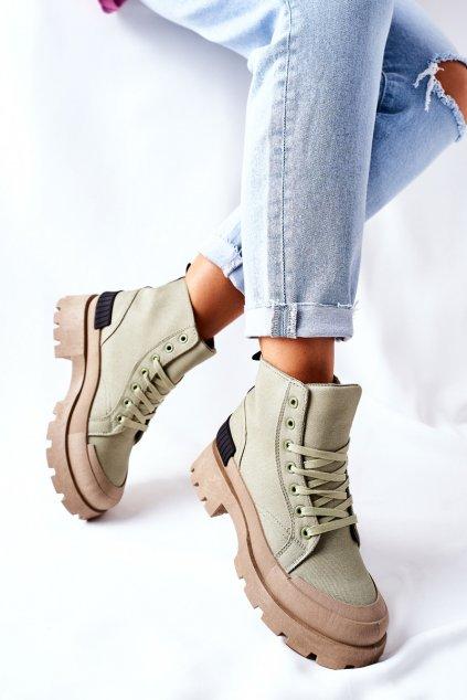 Členkové topánky na podpätku farba zelená kód obuvi BL267P GREEN